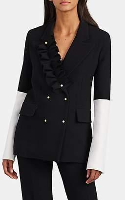 BROGGER Women's Ruffle-Trimmed Wool Double-Breasted Blazer - Black