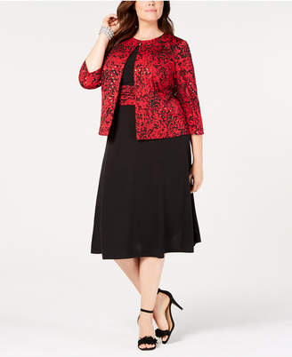 Jessica Howard Plus Size Printed Jacket & Midi Dress