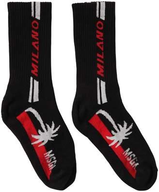 MSGM Logo Intarsia Cotton Blend Socks