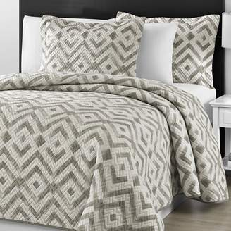 Comfy Bedding Staniey Collection Prewashed Chevron Quilted Gray and Off White 3-piece Coverlet Set