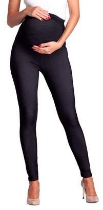 Zeta Ville Fashion Zeta Ville - Womens Maternity Elastic Pants Denim Look Leggings Waistband - 948c (