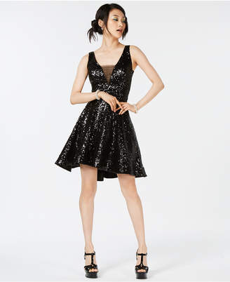 B. Darlin Juniors' Sequined V-Back Fit & Flare Dress