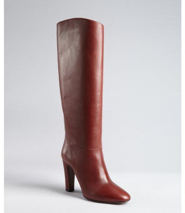 Valentino auburn leather tall high heel boots