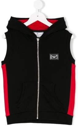 Philipp Plein Junior hooded zip-up gilet