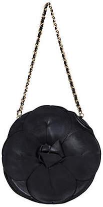 One Kings Lane Vintage Chanel Black Leather Camellia Flower Bag - Vintage Lux