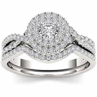 Imperial Diamond Imperial 3/4 Carat T.W. Diamond 10kt White Gold Double Halo Twisted Shank Engagement Ring Set