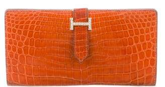 Hermes Porosus Crocodile & Diamond Bearn Wallet