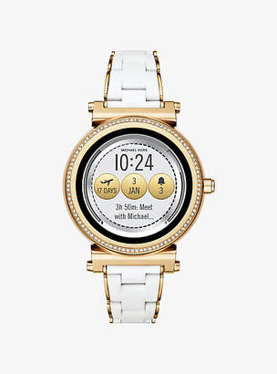 Michael Kors Sofie Pave Gold-Tone And Silicone Smartwatch