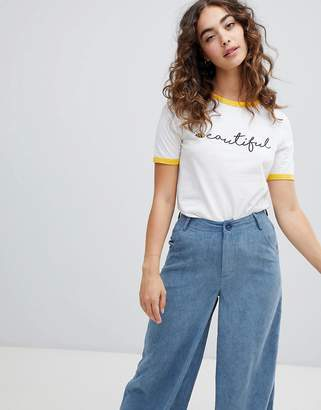 Daisy Street ringer t-shirt with beautiful print