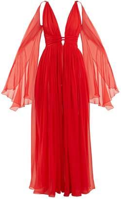 DUNDAS Deep V-neck sleeveless silk-chiffon gown