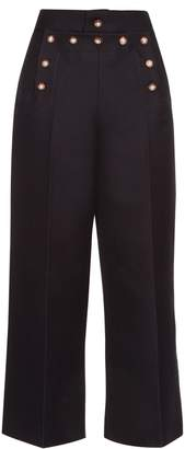 Marc Jacobs Embellished wool and silk-blend sailor trousers