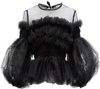 Molly Goddard Arlo Balloon Sleeve Tulle Top - Womens - Black