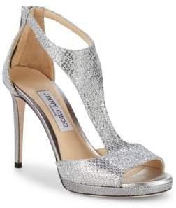 Jimmy Choo Lana Glitter T-Strap Sandals