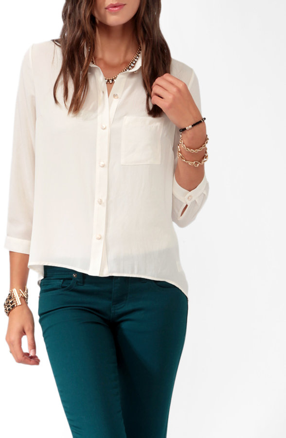Forever 21 High-Low 3/4 Sleeve Shirt