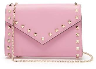 Valentino Rockstud Leather Envelope Clutch - Womens - Pink