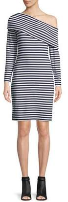 Club Monaco Skarlie One-Shoulder Long-Sleeve Striped Dress