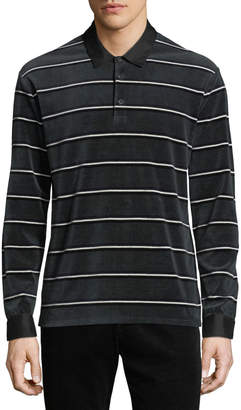 Vince Men's Long-Sleeve Rugby-Stripe Polo Shirt
