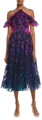 Marchesa Ombré Floral Cold-Shoulder Embroidered Cocktail Dress