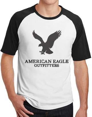 American Eagle Outfitters ASKKEEEN Mens Short Sleeve Raglan Tee