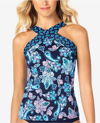 Swim Solutions Printed High-Neck Underwire Tankini Top, Women Swimsuit