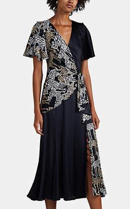 Prabal Gurung Women's Wildcat-Print Silk Midi-Dress - Black
