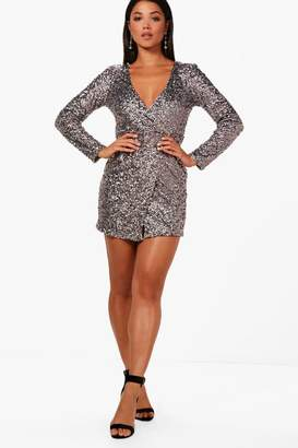 boohoo Boutique Sequin Wrap Bodycon Dress