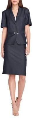 Tahari Arthur S. Levine Short Sleeve Buckle Front Jacket and Skirt Suit