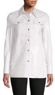 Calvin Klein Spread Collar Leather Button-Down Shirt