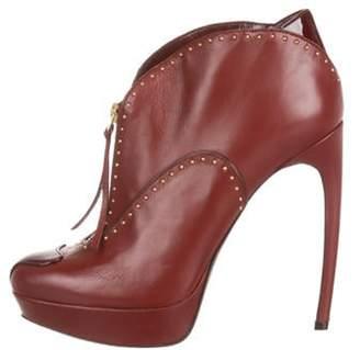 Alexander McQueen Leather Platform Ankle Booties gold Leather Platform Ankle Booties
