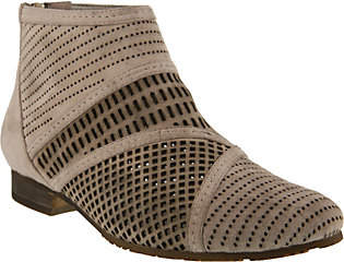 Spring Step Suede Perforated Booties - Sarani