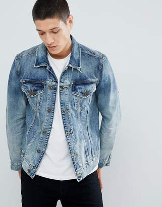 AllSaints Denim Jacket In Blue With Distress