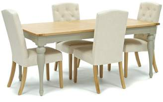 Willis & Gambier Oak And Painted 'Worcester' Large Extending Table And 4 Natural 'Stanza' Chairs