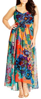 Plus Size Women's City Chic 'Hot Summer Days' Print High/low Maxi Dress $119 thestylecure.com
