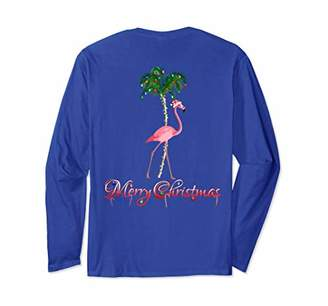 Pink Flamingo Beach Christmas Long Sleeve T-Shirt