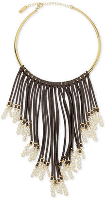INC International Concepts I.N.C. Gold-Tone Imitation Pearl and Faux Suede Fringe Necklace, Created for Macy's