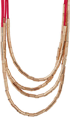 Catherine Stein Pink & Gold-Tone Layered Cord Necklace