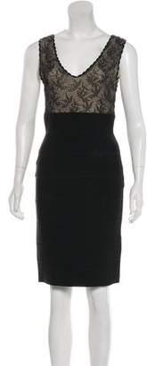 Herve Leger Lace Knee-Length Dress