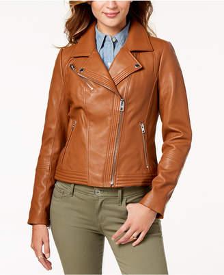 Michael Kors Leather Zipper Moto Jacket