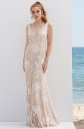 BY WATTERS V-Neck Embroidered Wedding Dress