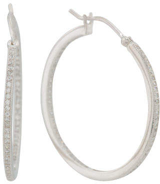 Sterling Silver Cz 30mm Inside Outside Hoop Earrings