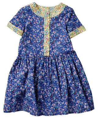 Pippa & Julie Blue Print Short Sleeve Dress (Toddler & Little Girls)