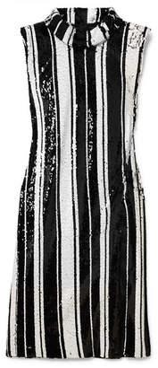 Halpern Striped Sequined Silk Dress - Black