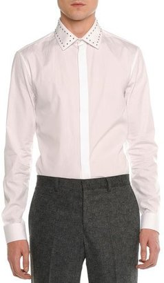 Givenchy Studded-Collar Long-Sleeve Shirt, White $645 thestylecure.com