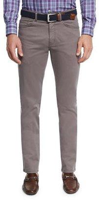 Peter Millar Five-Pocket Stretch Sateen Pants, Granite $145 thestylecure.com