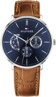Tommy Hilfiger Dress Watch with Croc-Embossed Leather Strap