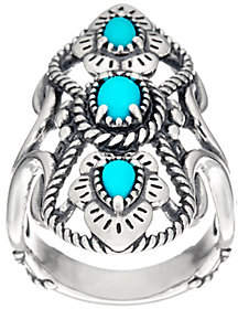 American West Sterling 3 Stone Sleeping BeautyTurquoise Ring