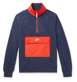Nike Colour-Block Shell-Trimmed Fleece Half-Zip Sweatshirt