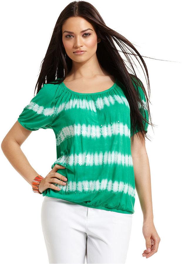 INC International Concepts Top, Short-Sleeve Tie-Dye Sequin Peasant