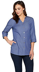 Denim & Co. Button Front Tunic Shirt withGrommet Detail