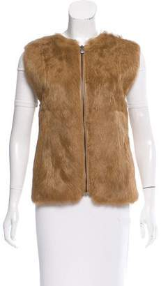 Vince Rabbit Fur-Trimmed Leather Vest w/ Tags